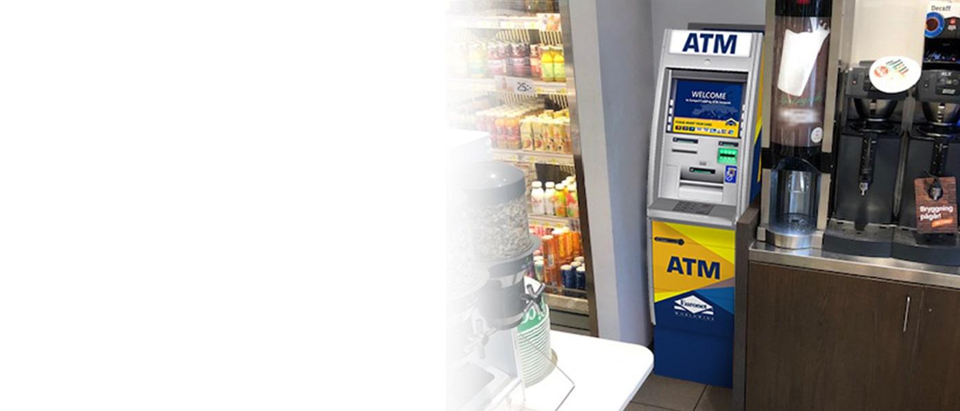 Vi hanterar och underhåller bankomaten och ser till att dina kunder får bra service.